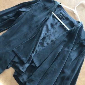 Eileen Fisher Black Silk Casual Blk Blazer Size S